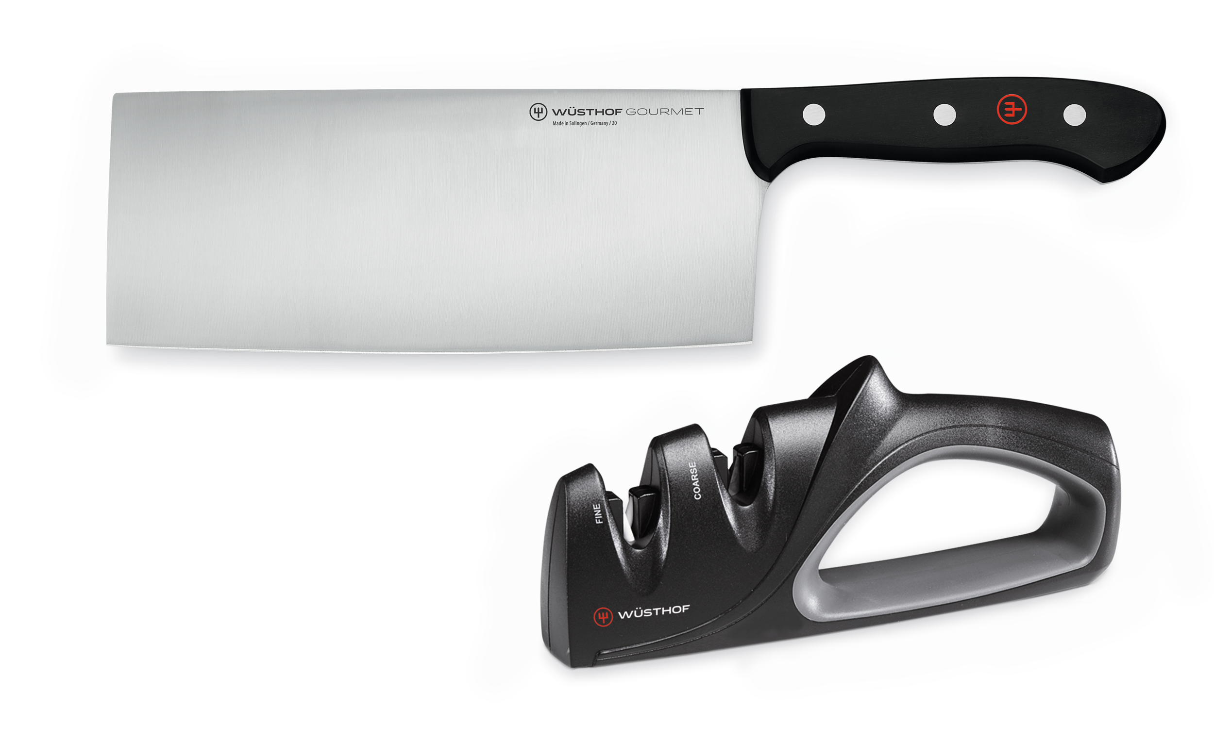 Chinese chef's knife & sharpener set